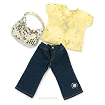 """Starlight Blouse, Jeans and Sequins Bag - Fits 18"""" American Girl Dolls"""