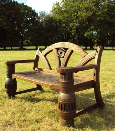 Garden Furniture Centre - Teak Ox Cart Axle Garden Bench