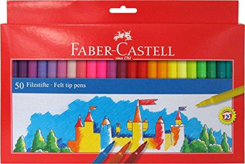 Faber-Castell 554250 - Estuche 50 rotuladores, multicolor - Faber-50 Rotuladores con punta de fibra