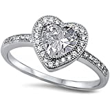 Clear Cz Heart .925 Sterling Silver Ring Sizes 4-10