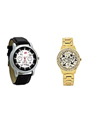 Gledati Men's Black Dial And Foster's Women's Golden Dial Analog Watch Combo_ADCOMB0001833