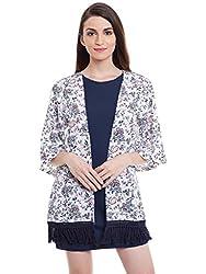 Purys Printed Floral Fringe Kimono Shrug - Large
