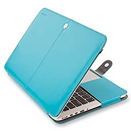 Mosiso MacBook Pro 15 Case, Premium PU Leather Folio Sleeve Cover with Stand Function for Macbook Pro 15.4 Inch with Retina Display (No CD-ROM Drive) Models: A1398, Blue