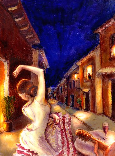 "001003 Canvas Art for Home Decor – Original Oil Painting Giclee ""Flamenco Dancer"" by Lena Kashigin, Artist Hand finished and signed artwork, 20×27, Ready to hang Large Canvas Wall Art"