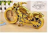ゴールド&ブラック メタリック な感じの レトロ バイク おしゃれな 置時計 アラーム付 (ゴールド)