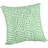 "Trina Turk TRELLIS Square Embroidered Decorative Pillow, 20"" x 20"", Green/White"