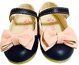 キッズ シューズ かわいい リボン の ヒール パンプス 子供 靴 (ネイビー & ピンク, 18cm)