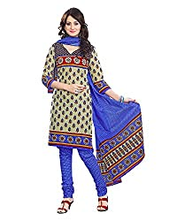 SareeGalaxy Cotton Beige Printed Unstitched Salwar Suit with Dupatta for Women-Free Size