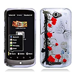 Aimo Wireless HTCONESPCIMT043 Hard Snap-On Image Case for HTC One S - Rose with Butterfly