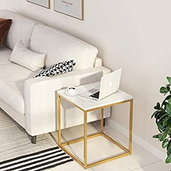 Tribesigns End Tables, Modern Square Chair Side Table Nightstand for Living Room Bed Room, Faux Marble & Gold Metal Frame