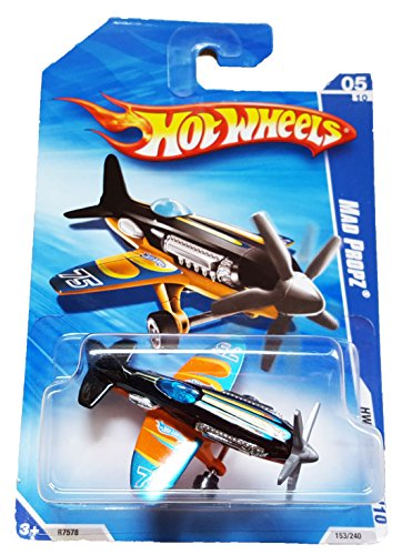 2010 HW RACING STUNT PLANE 05 OF 10 BLACK AND ORANGE MAD PROPZ - 1
