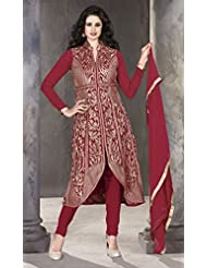 Designer Dress Material Red Semi Stiched Straight Cut Salwar Kameez Suit.