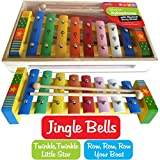 Childrens Wooden Musical Instrument - Xylophone - presented in wooden box and Song Sheet includedby BeeSmart