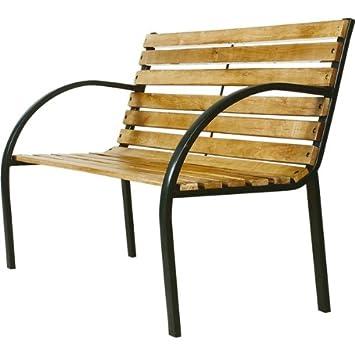 s banc de jardin en en acier et bois jardin m533. Black Bedroom Furniture Sets. Home Design Ideas