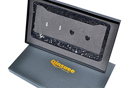 Qinsuee 12 Row Pure Handmade Bling Rhinestones Black License Plate Frame for Men - with 2 Holes Matching Screws & Caps - Black (Car License Plate Frame Bling compare prices)