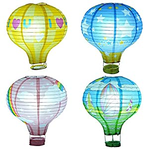 Amazon.com: Set of 5/10 Rainbow Hot Air Balloon paper lanterns Lights Christmas String Lights ...