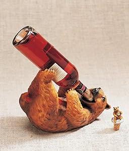 Bear Wine Bottle Holder Storage Log Cabin Lodge Decor