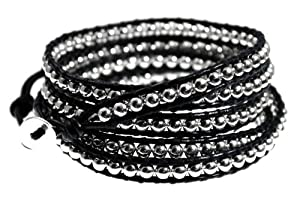 Rhiannon Black Genuine Leather Wrap Bracelet, Silver Beads: 39