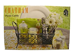 Chatham Wrought Iron Picnic Caddy Holds Napkins Flatware And Napkins by Mesa