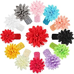 Qandsweet Baby Girl\'s Headbands Huge Chiffon Flower 5-inch (12 Pack)