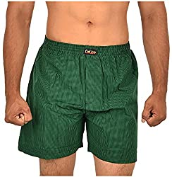 CALICO Men's Cotton Boxers (CAL_18_S, Green and Black, S)