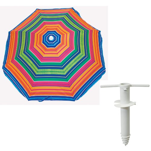 Rio Brands 6' Deluxe Umbrella (Blue) with a Rustproof lightweight Sand Anchor - Easy to use never blow away!