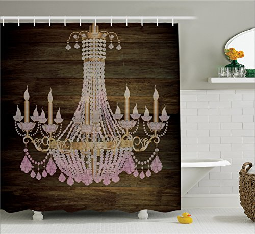 Rustic Wooden Planks Crystal Chandelier Fashionable House Decoration Bathroom Textile Modern Special Collection Decorative Item Elegant Decor Polyester Fabric Shower Curtain, Brown Pink (Chandelier Shower Curtain compare prices)