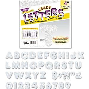 Ready Letters Sparkles Letter Set, Silver Sparkle, 4''h, 71/Set