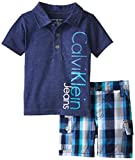 Calvin Klein Baby-Boys Infant Polo Top with Plaid Cargo Shorts, Navy, 18 Months