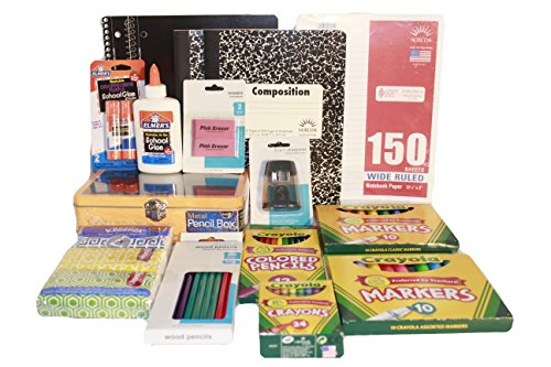 Back to School Complete Essentials Supplies Kit Pack Bundle - 16 Items - Composition & Spiral Notebooks, Paper, Crayons, Markers, Pencils, Erasers, Glue, Pencil Box Case, Sharpener, Kleenex (Lime Green)