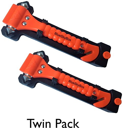 Value 2 Pack - Emergency Escape Tool Auto Car Window Glass Hammer Breaker and Seat Belt Cutter Escape 2-in-1 Tool by BlueSkyBos (Auto Emergency Tool compare prices)