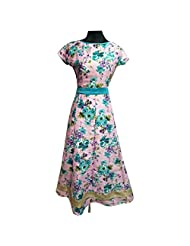 Light Pink Printed Pure Silk Semi Stitched Gown