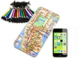 IPHONE 5C NYC SUBWAY MAP SNAP ON BACK HARD PROTECTOR COVER CASE + SCREEN PROTECTOR + ANTI DUST PLUG STYLUS MEDIUM SIZE (color chosen at random) Reviews