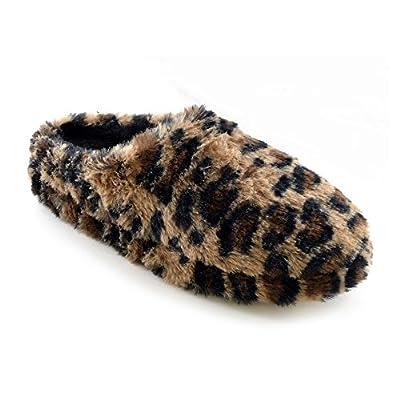 Womens/Ladies Plush Leopard Print Mule Slippers