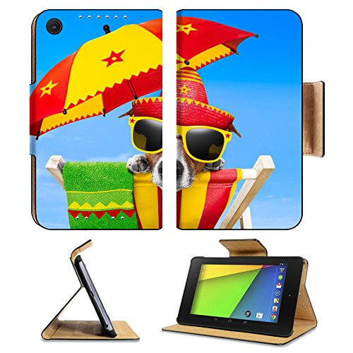 [Asus Google Nexus 7 2nd Generation Flip Case mexican dog on vacation relaxing on a deck chair under an umbrella Photo 20900252 by Liili Customized Premium Deluxe Pu Leather generation Accessories HD] (Dog Costume Carrying Gift Video)