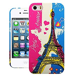 Heartly Tower Series Printed Design High Quality Hard Bumper Back Case Cover For Apple iPhone 4 4S 4G - Blue With Pink
