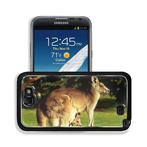 Animal Wildlife Kangaroo Mother Baby Australia Outback Samsung Galaxy Note 2 Snap Cover Premium Aluminium Design Back Plate Case Customized Made To Order Support Ready 6 Inch (152Mm) X 3 2/8 Inch (82Mm) X 4/8 Inch (13Mm) Luxlady Galaxy Note 2 Professional front-1031038