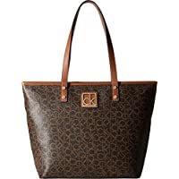 Calvin Klein Women's Key Item Monogram Tote Handbag - Brown/Khaki Combo
