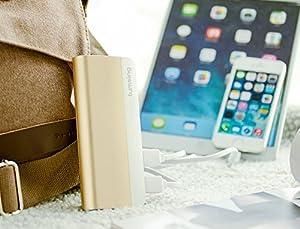 Lumsing® 10400mAh大容量モバイルバッテリー ハーモニカ型設計2USBポート同時充電 iPhone5S 5C 5 4S/iPad Air/Galaxy/Xperia/Android/各種マルチデバイス対応 日本語説明書付 (ゴールド)