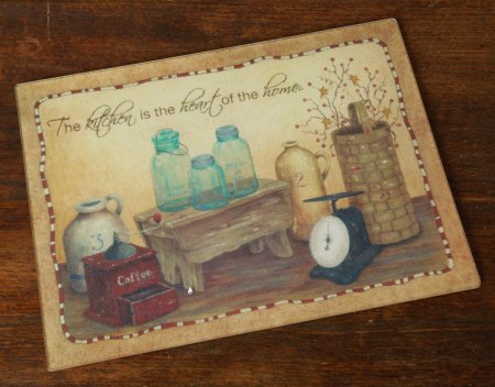 Kitchen Is the Heart of the Home Glass Cutting Board - Perfect for Primitive Country Decor - 16