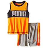 PUMA Baby Boys' Active Tank and Short Set, Orange Gray, 18 Months