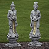 Large Garden Statues - Oriental Man & Woman Stone Sculptures