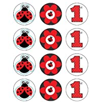 Lady Bug First BIrthday Edible Image Cupcake Toppers