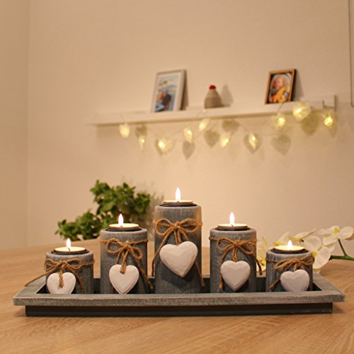 teelichthalter set auf holz tablett weihnachten tischdekoration weihnachtsdekoration innen. Black Bedroom Furniture Sets. Home Design Ideas