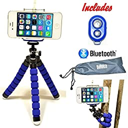 Flexible iPhone Tripod SE 6s 6s Plus 6 6 Plus 5s 5c 5 4s 4 Galaxy S7 S6 S5 S4 S3 S2 - Cell Phone Tripod Adapter - Bluetooth Remote Control (Better than Joby Gorillapod Tripod) by DaVoice (Blue)