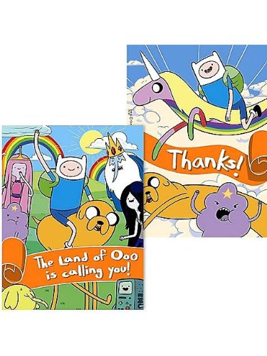 Adventure Time Invitations & Thank-You Postcards (8 each)