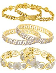 Jewels Galaxy Combo Of Sparkling Floral American Diamond Bangles And Victoria Golden Bangles - Pack Of 6