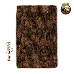 Fur Accents Branded Premium Faux Fur Shaggy Throw Area Rug Rectangle With Bonded Ultra Seude Back (No Toxic Rubber or Foam) (3\'x5\', Chocolate brown)