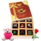 Valentine Chocholik Belgium Chocolates - Delicious Treat Of Dark Chocolate Box With Teddy And Rose