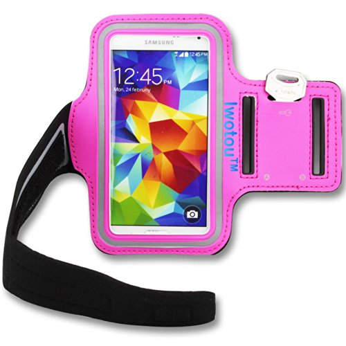 Iwotou Protective Gym Running Jogging Sport Armband Case For Samsung Galaxy S5 G900 (Hotpink)